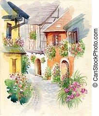 été, aquarelle, vert, village, rural, day.