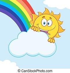 été, arc-en-ciel, soleil