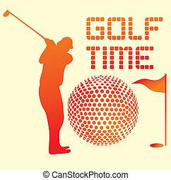 été, art, sports, joueur, vecteur, golf