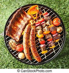 été, assortiment, savoureux, viande, barbecue