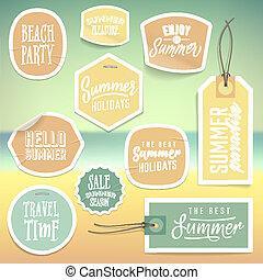 été, autocollants, étiquettes, vacances, vacances