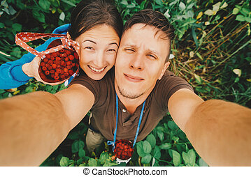 été, autoportrait, amour, jardin, couple, framboise, prendre