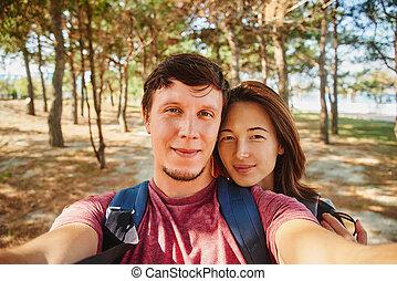 été, autoportrait, prendre, forêt, couple, aimer