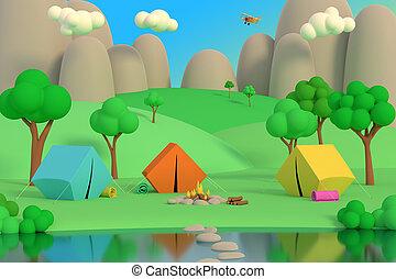 été, autour de, render, tentes, camp, fire., après-midi, forêt, fond, 3d, montagnes., coloré
