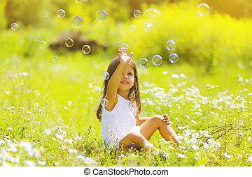 été, avoir, jour, enfant, amusement, bulles, savon