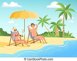 été, avoir, personne, bord mer, vacances, repos, characters., femme, vecteur, fond, mâle, plage, dessin animé