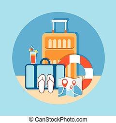 été, bagage, île, bord mer, vacances, plage tropicale, voyage
