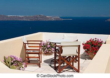 été, balcon, vue