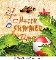 été, balle, arbres, etoile mer, coraux, paume, fond, fetes, plage