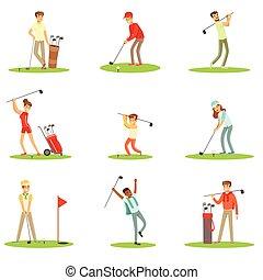 été, balle, golf, golfe, frappant, club, gens, jeu, herbe, dehors, ensemble, caractères, sourire, apprécier, jouer