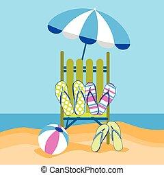 été, balle, parapluie, voyage, vacances, chiquenaude, exotique, sunbed, sable, opérations virgule flottante, plage