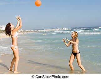 été, balle, vacances, adolescents, plage, jouer, heureux