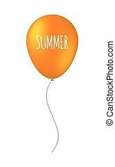 été, balloon, isolé, texte