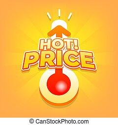 été, banner., coût, offre, escompte, chaud, thermomètre, spécial