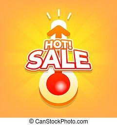 été, banner., offre, vente, escompte, chaud, thermomètre, spécial
