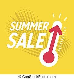 été, banner., offre, vente, escompte, thermomètre, spécial