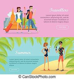 été, banners., vacances, voyageurs, gens