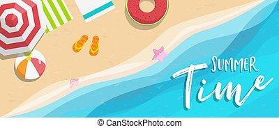 été, bannière, vacances, exotique, temps, plage
