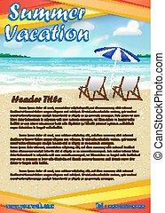 été, bannière, vacances, sable, affiche, plage