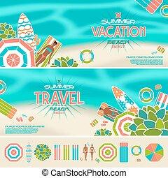 été, bannières, ensemble, plage, icônes