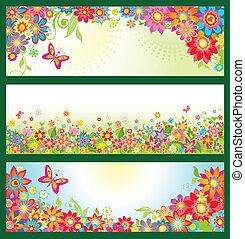 été, bannières, fleurs