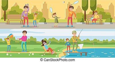 été, bannières horizontales, activité loisir