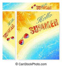 été, bannières, plage