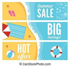été, bannières, plage, vente