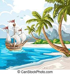 été, bateau, aller, plage