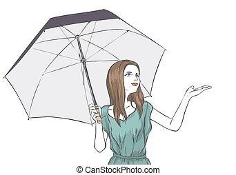 été, beutiful, parapluie, portrait, girl, robe