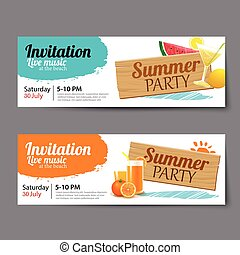 été, billet, piscine, gabarit, fête