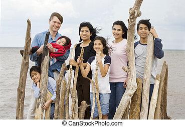 été, biracial, plage, ensemble, famille