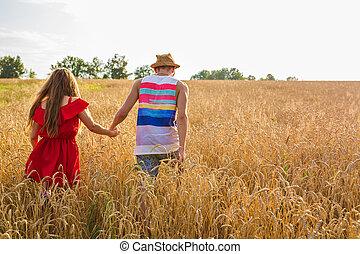 été, blé, couple, ensoleillé, jeune, champ, tenant mains, jour