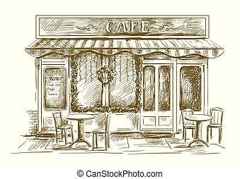 été, blanc, café, fond, tables