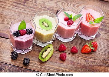 été, bois, boisson, fraise, smoothies, framboise, table., mûres