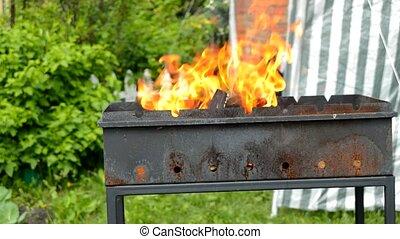 été, brûlé, nature, foyer tir, quand, jaune chaud, clair,...