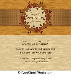 été, brun, automne, beige, invitation, ou