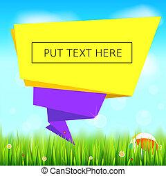 été, bubble., juteux, clouds., papier, origami, bleu, banner., coccinelles, ciel, fleurs, parole, champ, géométrique, 3d, illustration, herbe, fond, vert, pâquerette, herbe, toile de fond