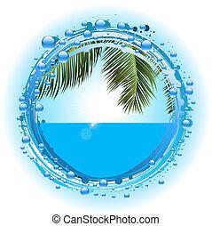 été, bulle, eau tropicale, vacances, frontière