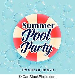 été, bulles, piscine, fond, fête