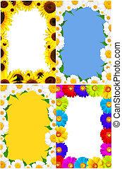 été, cadre, fleurs, coloré, printemps