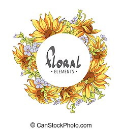 été, cadre, fleurs, rond