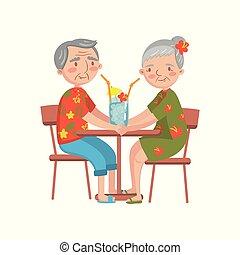 été, café, séance, illustration, vecteur, repos, personne agee, apprécier, cuuple, dessin animé, heureux
