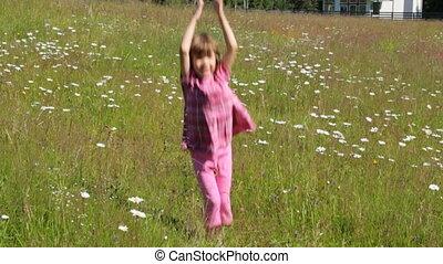 été, camomile, champ, sauter, enfant, matin