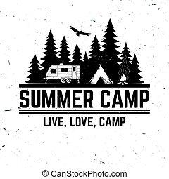été, camp., vecteur, illustration., concept, pour, chemise, ou, logo, impression, timbre, ou, tee.