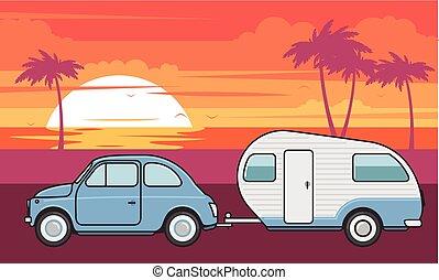 été, campeur, -, vacances, voyage, retro, voiture, caravane