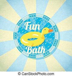 été, caoutchouc, duck., vecteur, mer, amusement