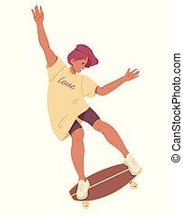 été, cavalcade, skateboard, loisir, vecteur, activité, girl