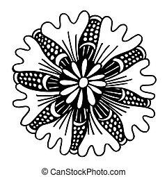 été, cercle, fleur, ornament., griffonnage
