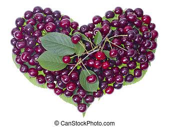 été, cerises, fruit, coeur